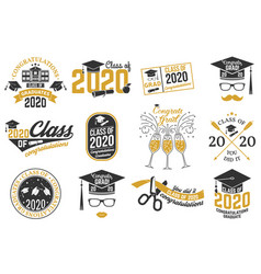 Set class 2020 badges concept vector