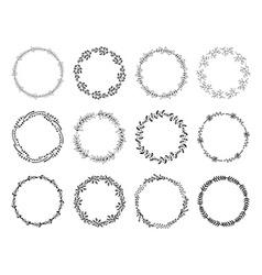 set floral wreaths vector image