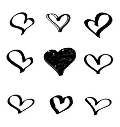 Set of hearts drawn with a marker vector