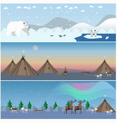 Set of wild north landscape posters in flat vector