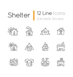 Shelters types linear icons set vector