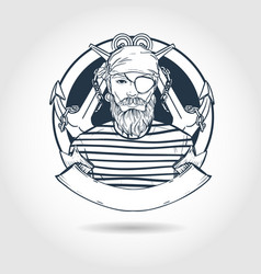 sketch pirate face vector image