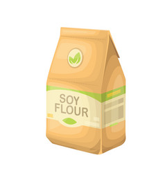 Soy flour in a paper bag vector
