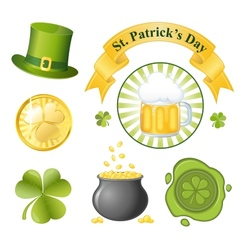 st patricks day icon set vector image