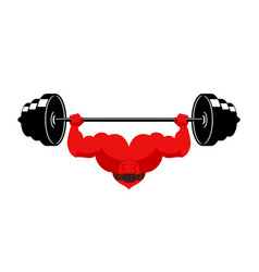 strong heart and barbell powerful love athlete vector image
