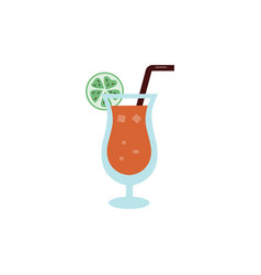 summer cocktail or ice beverage icon flat cartoon vector image
