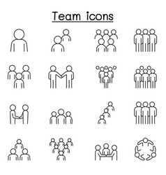 teamwork team people icons set in thin line style vector image