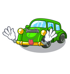 Tongue out classic car toys in cartoon shape vector