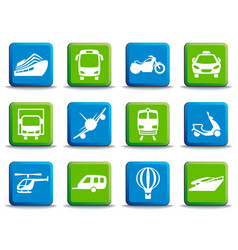 transport icons on buttons vector image