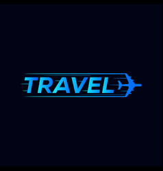 Travel symbol logo design with airplane icon vector