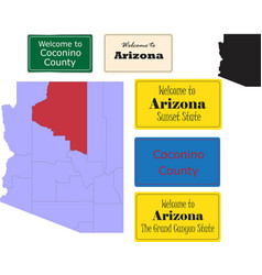 us arizona state coconino county map and road sign vector image