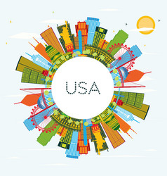 usa skyline with color skyscrapers and landmarks vector image