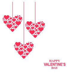 Valentines day card with hearts hearts hang vector