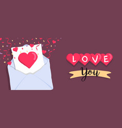 valentines day cute love letter cartoon banner vector image