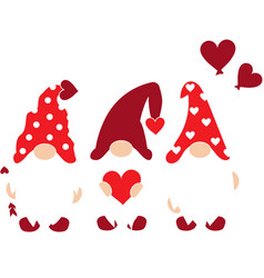 valentines day gnomes with hearts day vector image