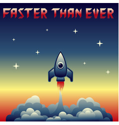 Vintage rocket launch vector