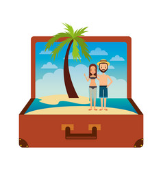 Vintage suitcase couple inside with beach palm vector