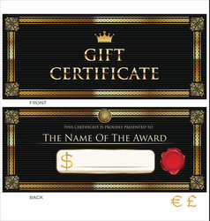 voucher gift certificate coupon black and gold vector image