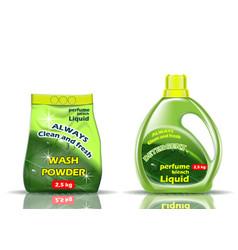 Washing powder liquid and powder of green color vector