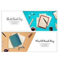 World book day banners template vector