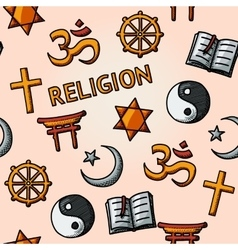 World religion hand drawn seamless pattern vector image
