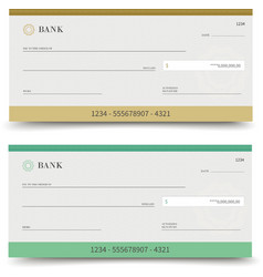Bank check isolated vector
