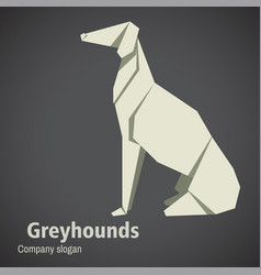 dog breed greyhounds origami vector image
