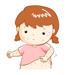 girl scratching itching rash on his body vector image