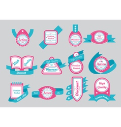 labels with cyan ribbons vector image vector image
