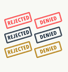 rejected and denied rubber stamps set in vector image