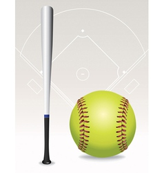 softball and bat vector image vector image