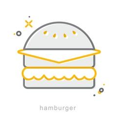 Thin line icons Hamburger vector image