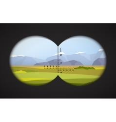 View from binoculars on landscape with fields vector image