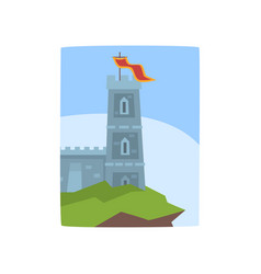 Fantasy castle on edge of cliff medieval castle vector