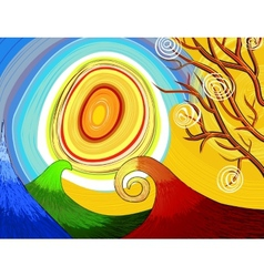 Hand-drawn seasonal background with tree and sun vector image vector image