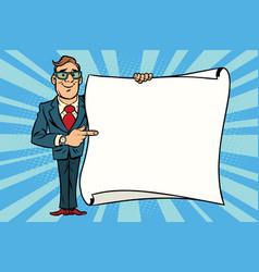 joyful businessman showing on the mockup copy vector image