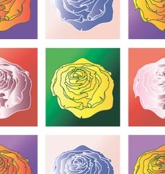 Pattern squares with roses vector image