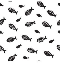 swimming fish seamless pattern small vector image