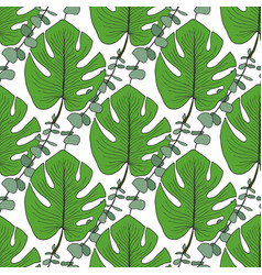 tropical green leaves pattern seamless pattern vector image vector image