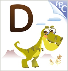 Animal alphabet for the kids D for the Dinosaur vector image