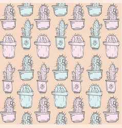 Cactus background seamless pattern vector