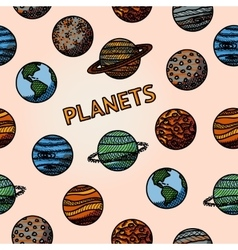 hand drawn planet pattern with - mercury venus vector image vector image