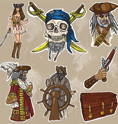 pirates - an hand drawn colored pack no1 vector image vector image