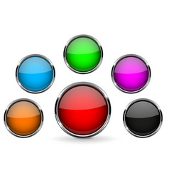 round glass buttons with metal frame colored vector image