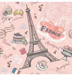 Seamless pattern on Paris from the romantic vector image vector image