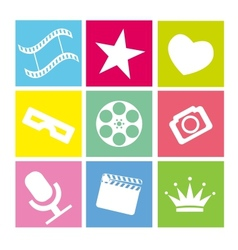 Set of flat neon colored cinema icons vector image