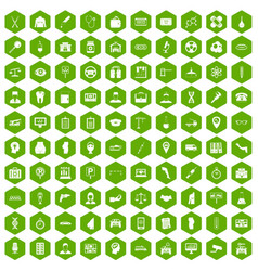 100 business day icons hexagon green vector