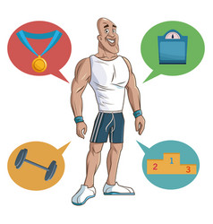 man sport muscular strong vector image