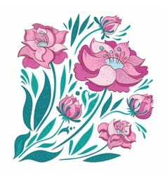 Pink Flowers Set vector image vector image