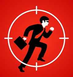 a businessman runs at gunpoint vector image